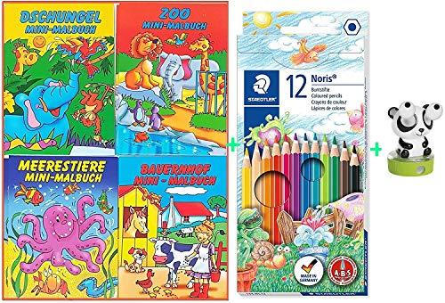 Libetui Malbücher Mini Malbuch Set Kinderbeschäftigung Zuhause Hort Mitgebsel Kinderparty Hochzeit Geschenk Kindergeburtstag (4 Malbücher + Buntstifte + Anspitzer Panda)