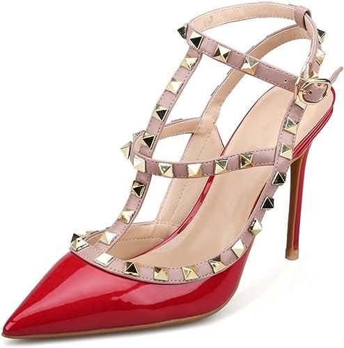 EGS-chaussures Bride à la Cheville Sandales pour Les Femmes Stiletto 6cm gladiateurs à Talons Hauts Pompes avec des Goujons T Strap Backless Chaussures de Cricket (Couleur   rouge 10cm Heel, Taille   42 EU)
