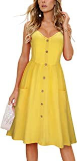 0415b8fd9439 KILIG Women's Summer Sundress Spaghetti Strap Button Down Dress with Pockets