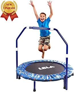 LBLA 38 Inch Kids Trampoline with Adjustable Handrail Mini Foldable Trampoline for Indoor and Outdoor