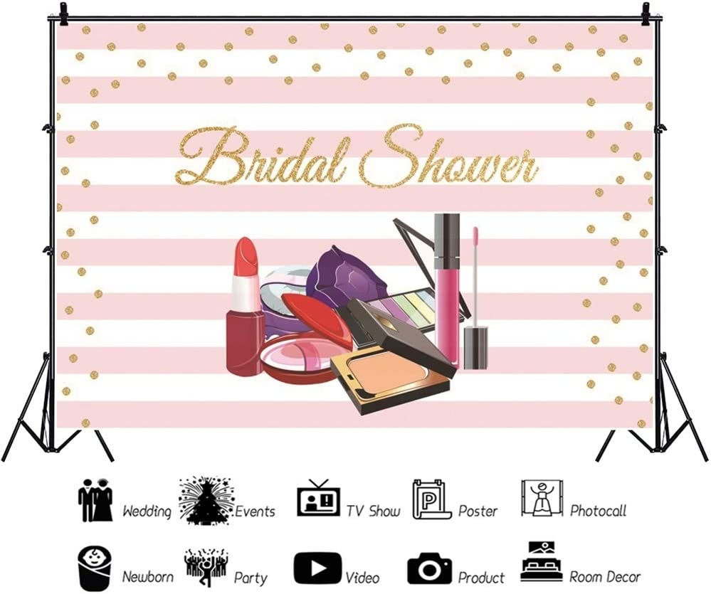 Haoyiyi 10x6.5ft Bridal Shower Backdrop Glamour Makeup Lipstick Pink and White Stripes Background Photography Photo Woman Girl Ladies Makeup Blogger Fashion Party Living Room Dorm Interior Decor Wall