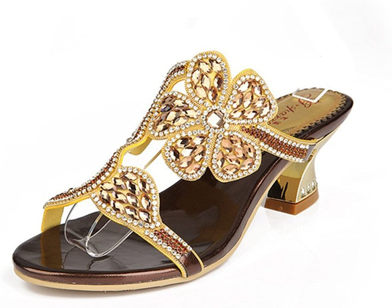 Women's shoes New Comfort Novelty Sandals Low Heel Rough Heel Open Toe Rhinestone for Party & Evening Spring Summer New