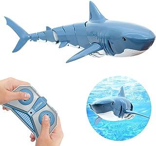 DYJ ラジコンサメ 電動おもちゃ 子供向け RC サメ 水中のおもちゃ 2.4G リモコン付き USB充電式 RCシャーク リモコン玩具 防水 前進/後退/左折/右折 プールに最適 プレゼント 贈り物