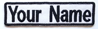 Lan Stang Custom Embroidered Name Tag Name Badge Iron-On Sew-On Patch 1x4 inches (White Fabric-Black Border)