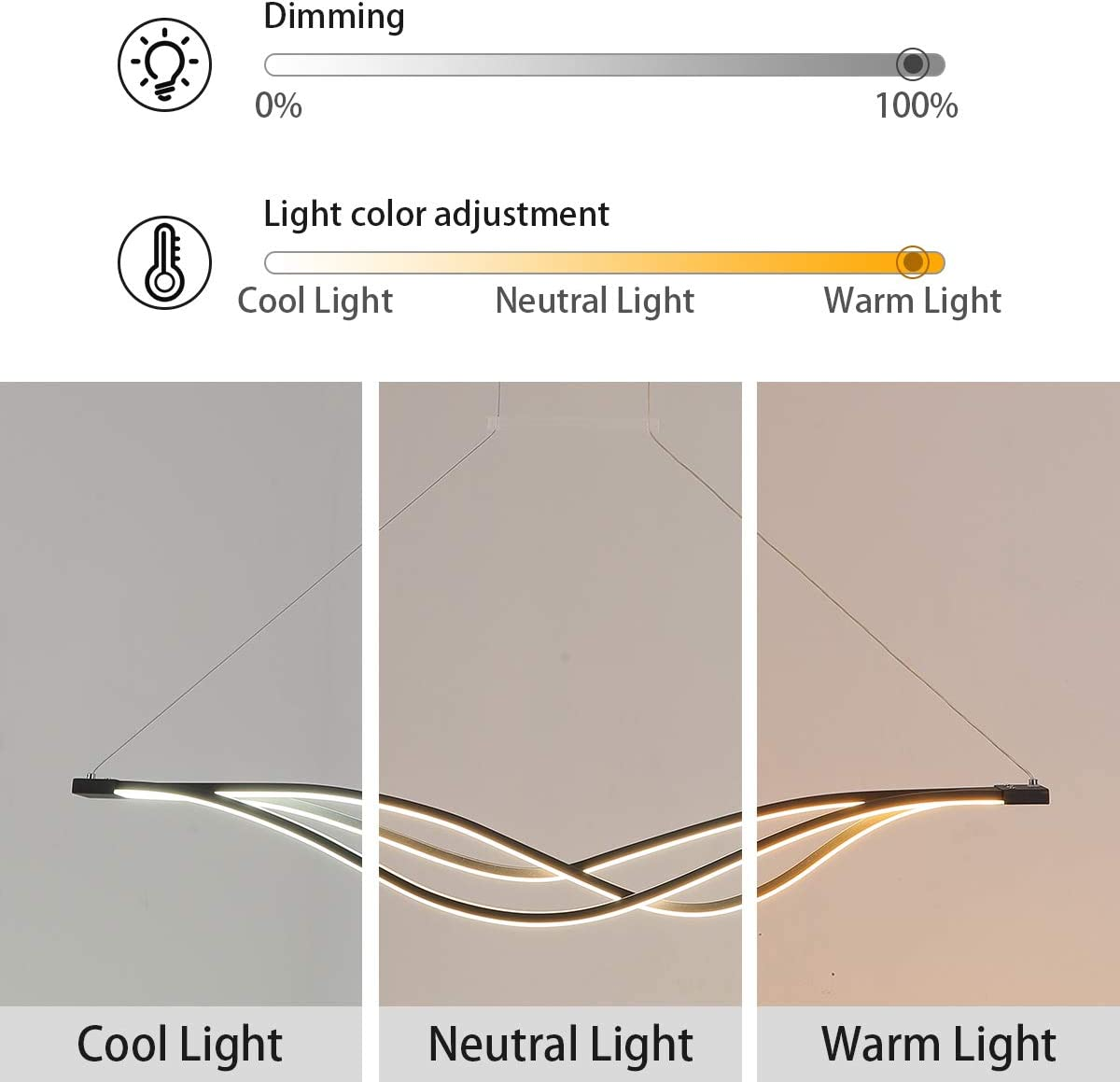 Garwarm Modern Pendant Light,48W LED Dimmable Chandelier with Remote,Black Minimalist Chandeliers Lighting Contemporary Linear Hanging Light Fixture for Living Dining Room Kitchen Island