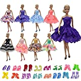 ZITA ELEMENT 10 Stück Puppen Sachen für 5er Abendkleid 5 Paare Schuhe Mädchen Prinzessin Kostüm handgemachtes Partei Brautjungfer Festzug Minikleid Ballkleider Kleider -