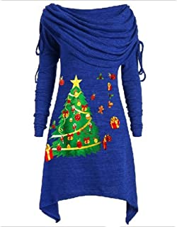 Howely Women Fall Winter Floral Printed Christmas Long Sleeve Tops Blouses