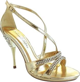 2a9de66f12d De Blossom Collection Garda-4 Ankle Strappy Rhinestone Stiletto high Heel  Dress Sandals Gold