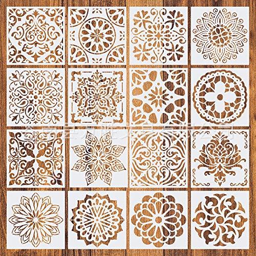 16 Stück Mandala-Schablonen, Malerei Zeichenschablonen, Wiederverwendbare Vorlagen Set Painting Stencils für DIY Dekor, Spray, Handmalerei, Stoff und Wände 15x15cm