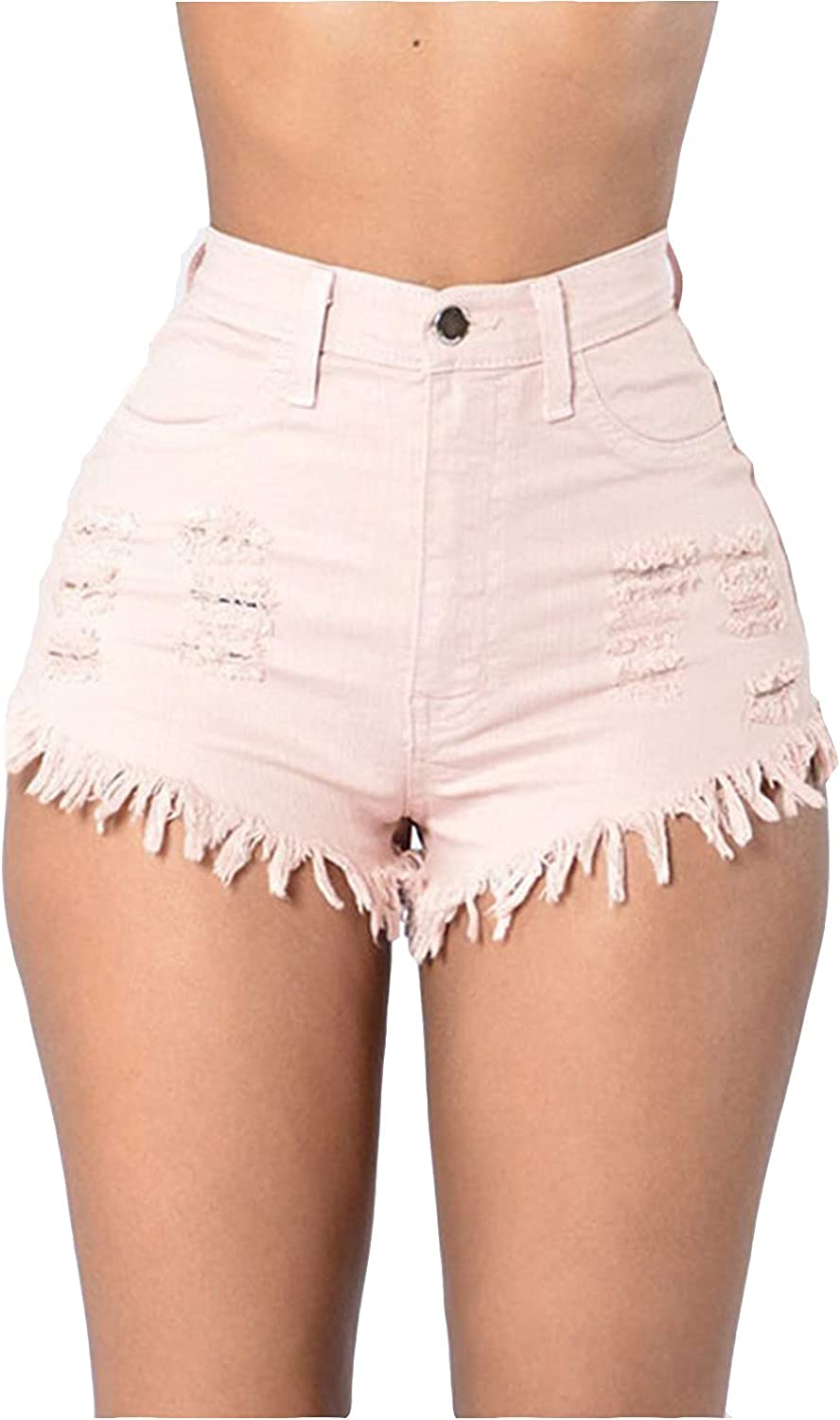 Women Casual Summer Low Waist Hole Stretchy Denim Jean Shorts Junior Hot Short Pants with Pockets