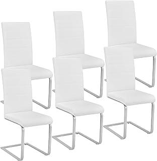 TecTake 800810 Lot de 6 Chaises de Salle à Manger Dossier Ergonomique Assise et Dossier Rembourrés Piètement en Acier – Di...