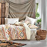 SUSSEXHOME Western Dream Duvet Cover Set | Beige, Queen Size Duvet Cover, 1 Duvet Cover, 1 Fitted Sheet and 2 Pillowcases, Iron Safe, Hypoallergenic, Breathable Bedding Set, Machine Washable