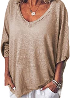 Yisism Women's Tops Autumn V-Neck Loose Batwing Sleeve Casual T Shirts