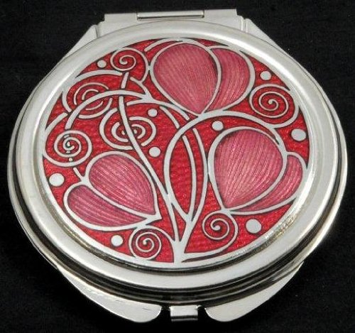 Sea Gems Compact Mirror in a Celtic Swirls Design. (Red)