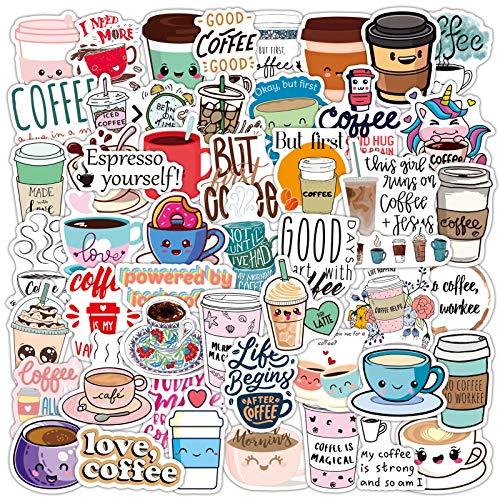 ZNMSB 50 Etiquetas engomadas Lindas del Doodle de la Historieta del café Pegatinas del Casco del Ordenador portátil de la Maleta