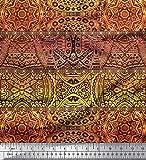 Soimoi Gelb Seide Stoff Streifen & Mandala Kaleidoskop