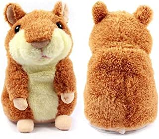 Talking Hamster Mimicry Pet Repeats What You Say Plush Animal Toy Electronic Hamster Mouse Xmas Gift for Kids Children (Brown)