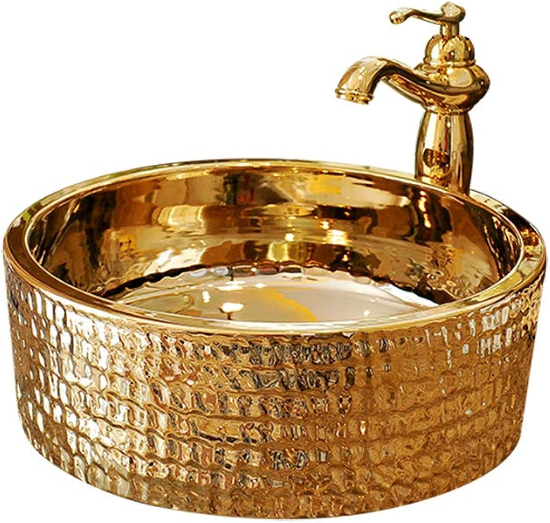 DZXM Oben Gegen Becken Bad Keramik Waschbecken Waschen Sie Ihr Gesicht Spüle Rund Gegen Top Gold Waschbecken