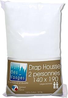 Nuit des Vosges 2094428 Cotoval Drap Housse Uni Coton Blanc 140 x 190 cm