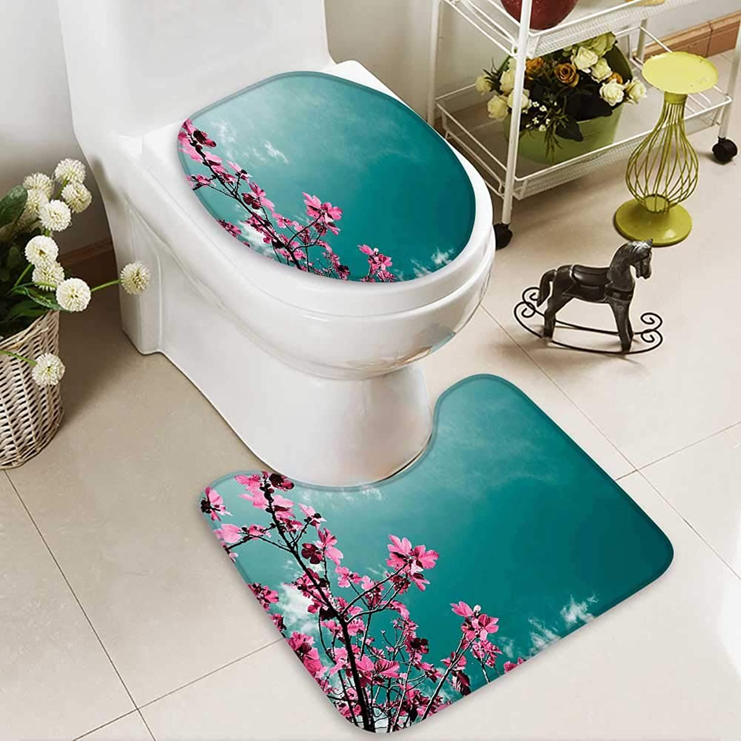 SOCOMIMI Non-Slip Bathroom Rug Mats Set Tree Florets Sunny Sky Exotic Summer Spring Plants Scenic Nature View Teal 2 Pieces Microfiber Soft