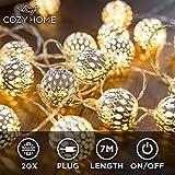 CozyHome marokkanische LED Lichterkette – 7 Meter | Mit Netzstecker NICHT batterie-betrieben | 20...