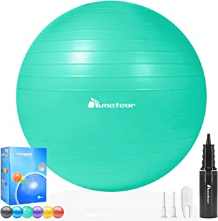 Meteor Anti-Burst Yoga Ball Swiss Ball with Air Pump for Exercise Pilates Balance Workout Fitness Pregnant Therapy Relaxat...
