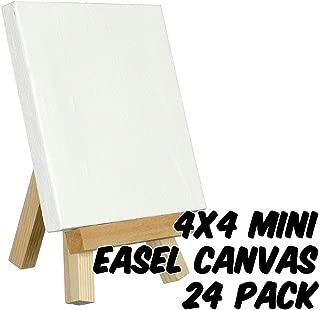 Markin Arts Craftvas Swedish Solid Pine Wood Acid/Discoloration Free 100% Grade A Cotton Medium Weight 10oz Triple Titanium Acrylic Gesso Primed Mini Stretched Art Canvas Easel Set 4x4