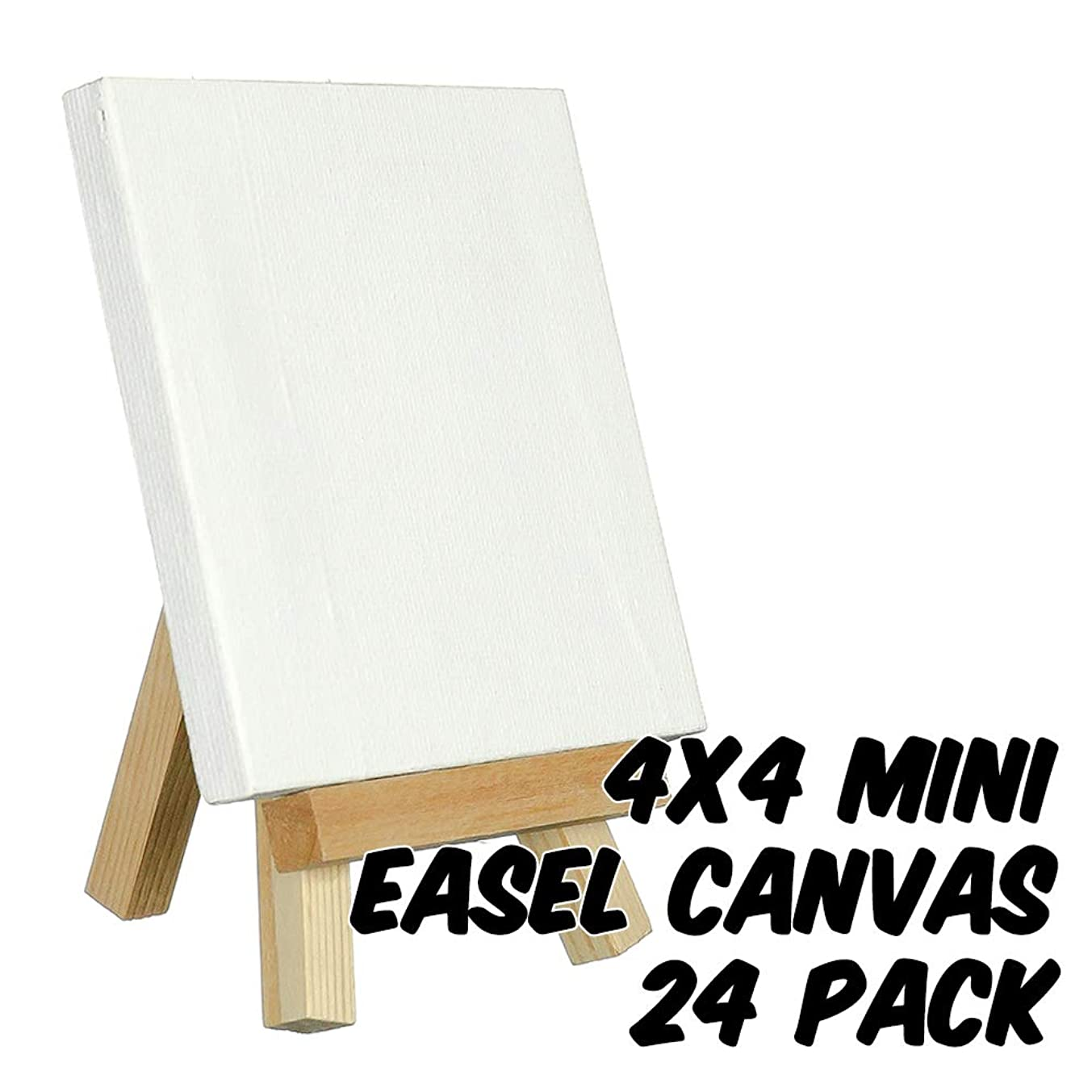 Markin Arts Craftvas Swedish Solid Pine Wood Acid/Discoloration Free 100% Grade A Cotton Medium Weight 10oz Triple Titanium Acrylic Gesso Primed Mini Stretched Art Canvas Easel Set 4x4