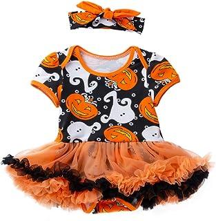 Halloween Baby Girl Outfits Spectre Pumpkin Dress/Romper with Headband Tutu Ruffle Clothes