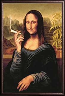 Framed Mona Lisa Smoking Joint 24x36 Poster in Rust Finish Wood Frame