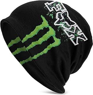 Unisex Adult Fox and Mon-Ster Energy Logo Casual Beanie Hat Warm Knit Ski Beanies Skull Cap Black
