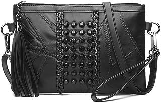 KARRESLY Women's Rivets Studded Shoulder Bag Black Tassel Clutch Bag Cross Body Bags