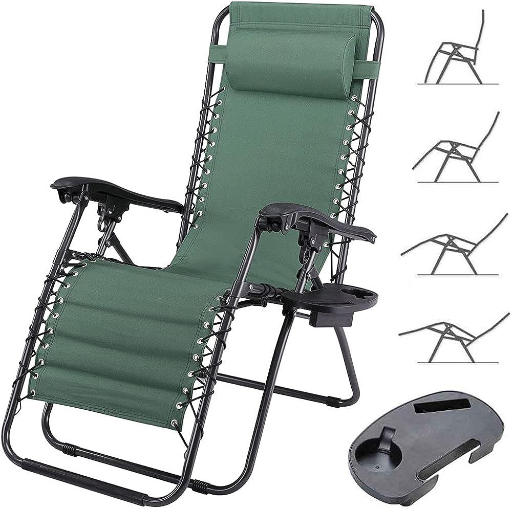 Bakaji sedia sdraio per esterno e interno pieghevole con vassoio appoggia oggetti in metallo e tessuto Verde Con Vassoio