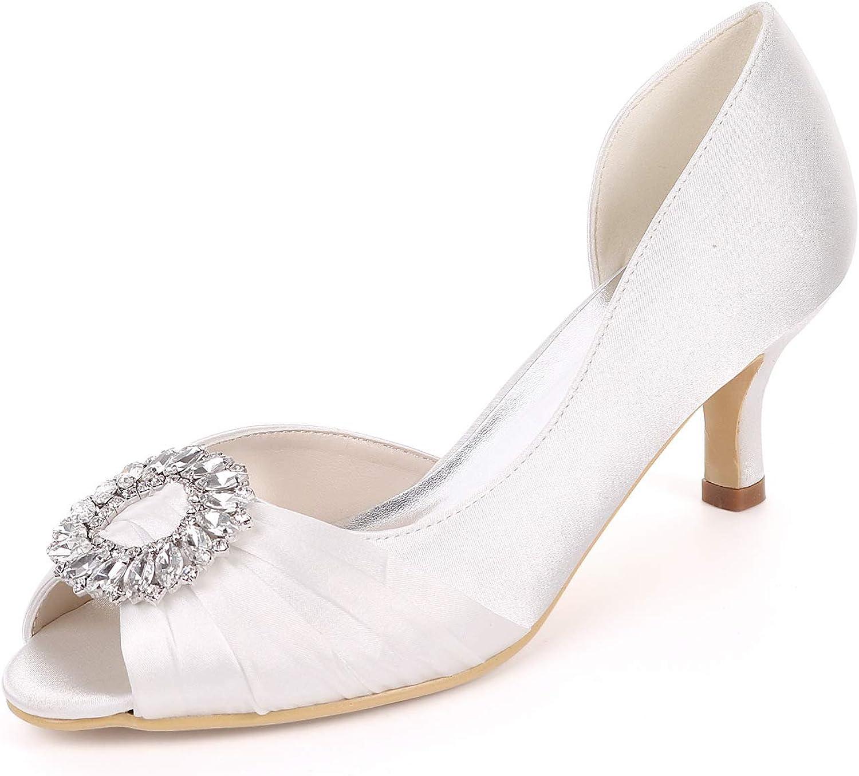 LLBubble Women Kitten Heels Peep Toe Wedding shoes Satin Bridal Pumps Crystal Formal Party Dress shoes Y1195-08A