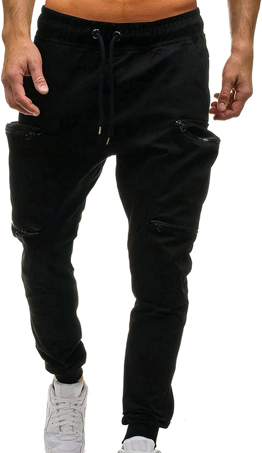 Cargo Pants for Men with Pockets, Men's Casual Relaxed Fit Big and Tall Cargo Trousers Pockets Full Pants