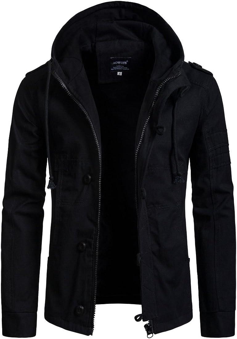 TEERFU Men's Winter Cargo Jacket with Multi Pockets Military Jackets Parka Jacket Casual Outwear