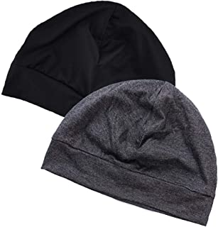 EINSKEY Sleep Cap, 2 Pack Unisex 100% Cotton Hat Indoor Skull Cap for Chemo, Hair Loss