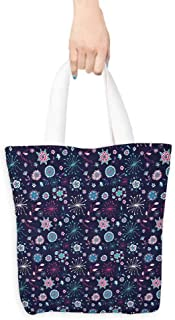Washable tote,Doodle Flowers Leaves Petals Pansy Bluebells Dandelion Modern Mother Mature,Canvas Grocery Shopping Bags with Handles,16.5