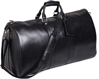 Mens Genuine Leather Overnight Travel Duffle Overnight Weekender Bag Luggage Carry On Airplane