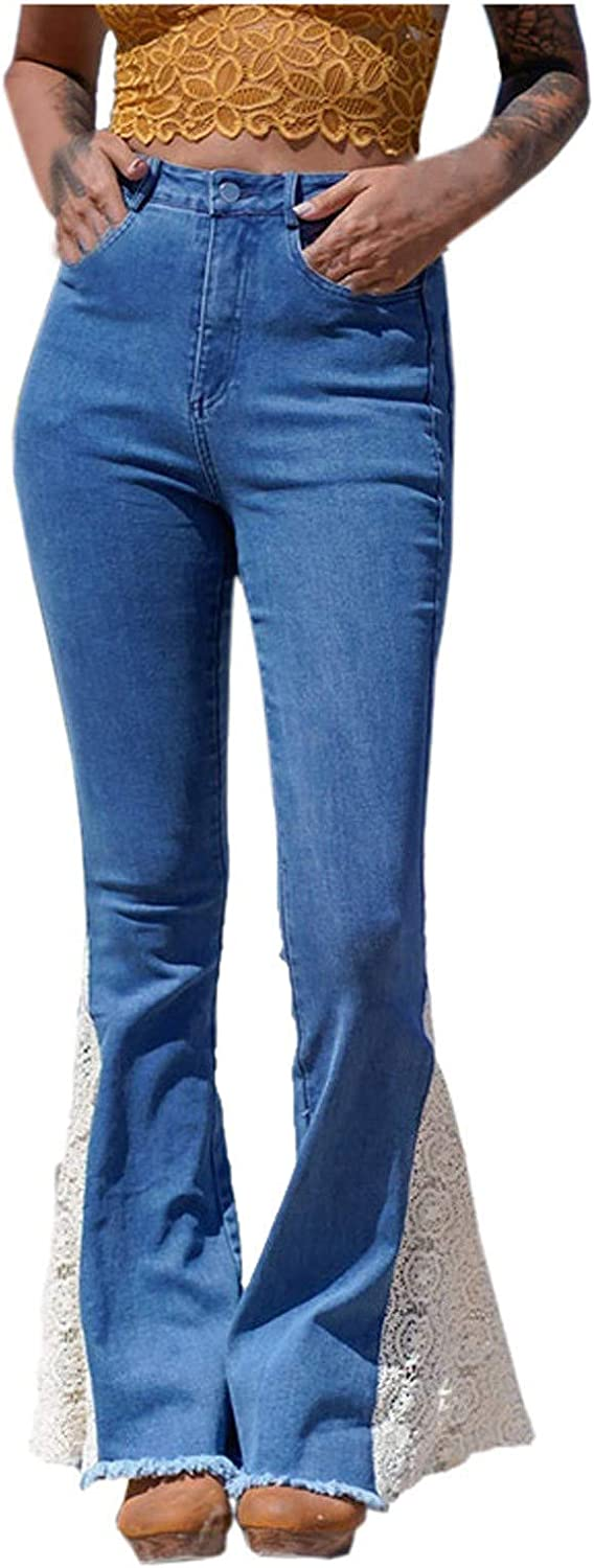 Fankle Women's High Rise Wide Leg Jeans Vintage Washed Flare Stretch Bell Bottom Jeans
