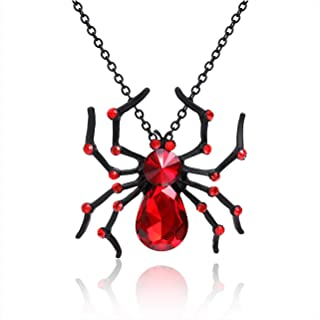 Halloween Spider Necklace Big Black Red Crystal Spider Pendant Halloween Party Costume Accessories Necklace Statement Long Necklaces
