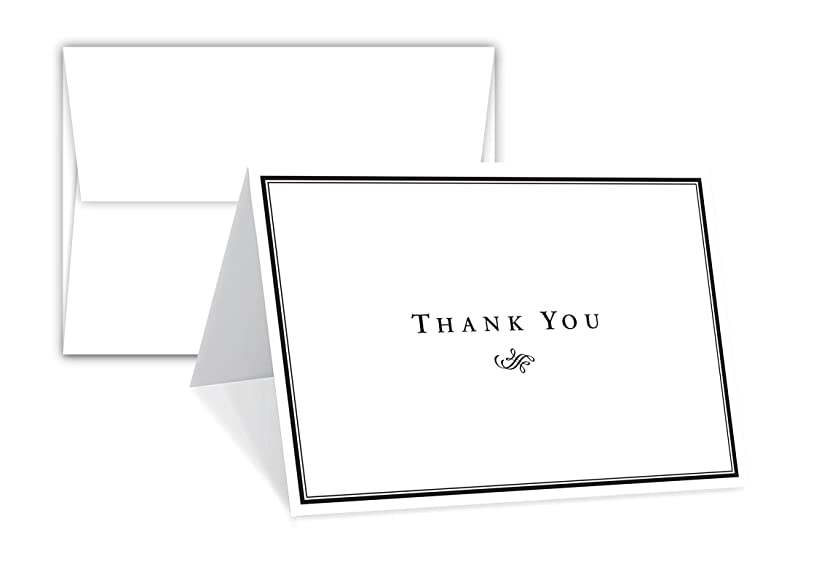 Thank You Card - 25 Bulk Set of 5x7 Inches Half-Fold Greeting Cards with Envelopes - Elegant Design Notecard with Blank on the Inside - For Weddings, Baby Shower, Graduation, Sympathy and All Occasion