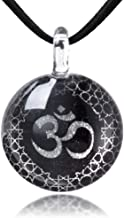 Chuvora Hand Blown Glass Jewelry Om Ohm Aum Symbol Mandala Design Round Pendant Necklace, 17-19 inches
