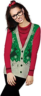 Faux Real Women's Ugly Sweater Vest Long Sleeve T-Shirt