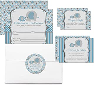 """Deluxe Blue Elephant Themed Baby Shower Party Bundle for Boys, Includes 20 Each of 5""""x7"""" Fill in Invitations, Diaper Raffle Tickets, Bring a Book Cards & 2"""" Thank You Party Favor Stickers w/Envelopes"""