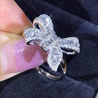 Rings for Women Silicone Wedding Ring Nose Belly Button Women Fashion Silver White Sapphire Bow Ring Wedding Engagement Jewelry Gift (7)