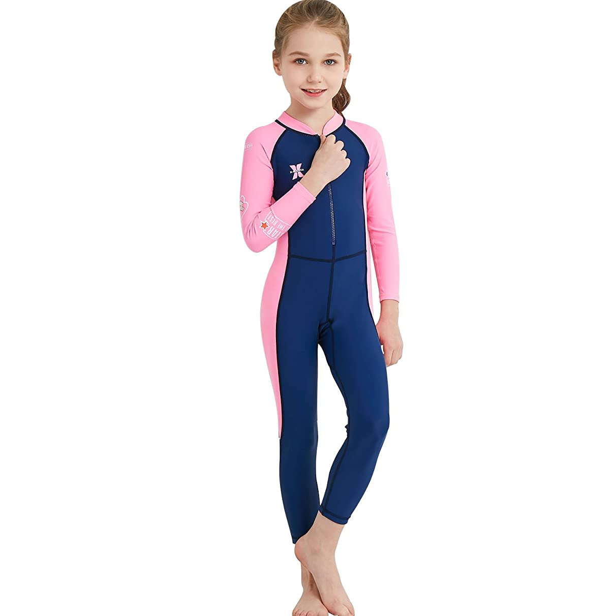 DIVE & SAIL Kids Rash Guard, UPF 50+Wetsuit Long Sleeve Full Swimsuit for Girls and Boys Snorkeling, Diving Scuba and Pool Multi Water Sports (Thin)