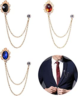 Huture 3 Packs Men's Gem Brooch Lapel Pin Badge Hanging Chains Collar Brooches Pin for Career Suit Tuxedo of Shirts Tie Hat Scarf for Boyfriend Father Birthday Black/Red/Blue