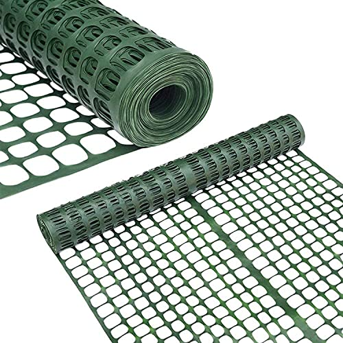 Abba Patio Snow Fence Plastic Garden Fencing Roll Temporary Safety Construction Mesh Fence Outdoor for Gardening, Yard, Patio, Pet, Rabbit, Poultry, 2' X 50' Feet, 1.7' Mesh, Green