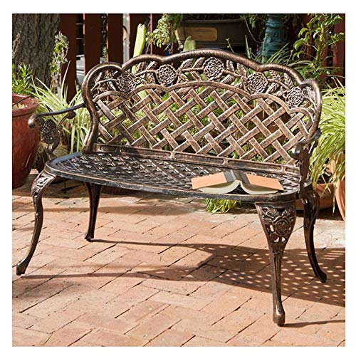 HZW Outdoor Garden Bench Metal Bench Park Bench with Armrests and Backrest for Patio, Lawn, Balcony, Backyard, Porch, Rose Carving and Weather Resistant,C